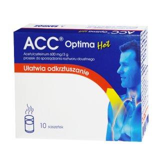 ACC Optima Hot 600 mg/ 3 g, proszek do sporządzania roztworu doustnego, 10 saszetek - zdjęcie produktu