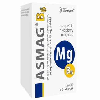 Asmag B 20 mg + 0,25 mg, 50 tabletek - zdjęcie produktu