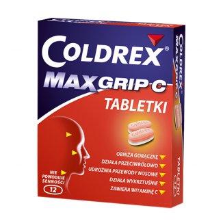 Coldrex MaxGrip C 500 mg + 25 mg + 5 mg + 20 mg + 30 mg, 12 tabletek - zdjęcie produktu