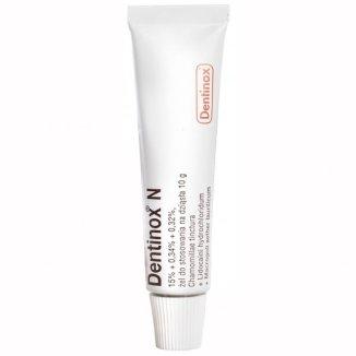 Dentinox N (150 mg + 3,4 mg + 3,2 mg)/ g, żel do stosowania na dziąsła, 10 g - zdjęcie produktu