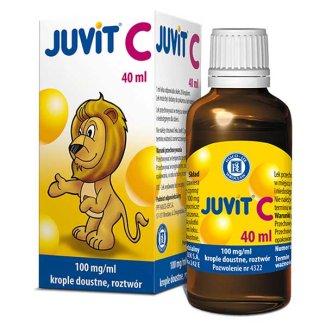 Juvit C 100 mg/ ml, krople doustne dla dzieci od 28 dnia życia, 40 ml - zdjęcie produktu