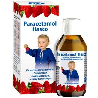 Paracetamol Hasco 120 mg/ 5 ml, zawiesina doustna dla dzieci od urodzenia, smak truskawkowy, 150 g - zdjęcie produktu