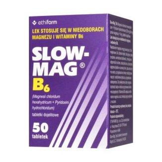 Slow-Mag B6, 64 mg + 5 mg, 50 tabletek dojelitowych - zdjęcie produktu