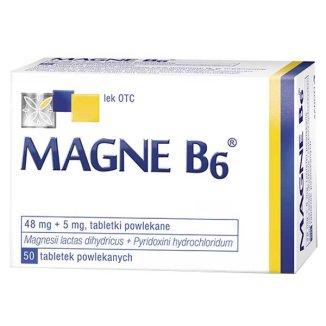 Magne B6 48 mg + 5 mg, 50 tabletek - zdjęcie produktu