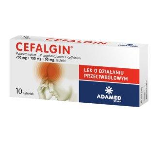 Cefalgin 250 mg + 150 mg + 50 mg, 10 tabletek - zdjęcie produktu