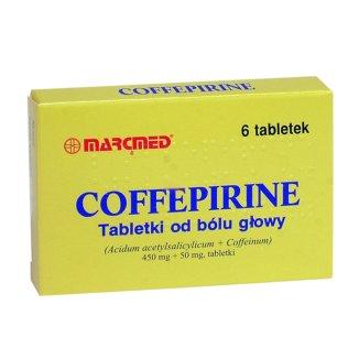Coffepirine Tabletki od bólu głowy 450 mg + 50 mg, 6 tabletek - zdjęcie produktu