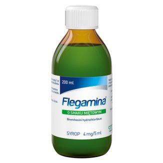 Flegamina Classic o smaku miętowym 4 mg/ 5 ml, syrop, 200 ml - zdjęcie produktu