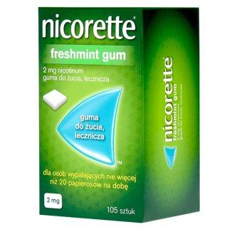 Nicorette FreshMint Gum 2 mg, guma do żucia, lecznicza, 105 sztuk - zdjęcie produktu