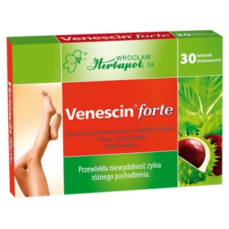 Venescin forte 100 mg + 60 mg, 30 tabletek drażowanych - zdjęcie produktu