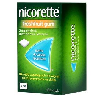 Nicorette FreshFruit 2 mg, guma do żucia, lecznicza, 105 sztuk - zdjęcie produktu