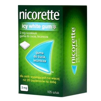 Nicorette Icy White Gum 2 mg, guma do żucia lecznicza, 105 sztuk - zdjęcie produktu