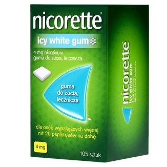 Nicorette Icy White Gum 4 mg, guma do żucia lecznicza, 105 sztuk - zdjęcie produktu