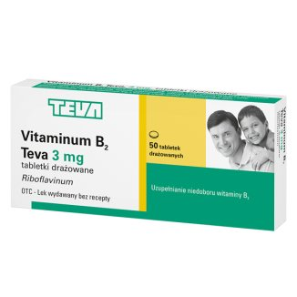 Vitaminum B2 Teva 3 mg, 50 tabletek drażowanych - zdjęcie produktu