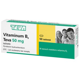 Vitaminum B6 Teva 50 mg, 50 tabletek - zdjęcie produktu