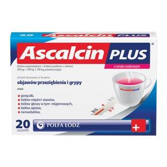 Ascalcin Plus o smaku malinowym 500 mg + 300 mg + 200 mg, proszek musujący, 20 saszetek - zdjęcie produktu
