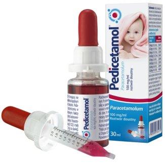 Pedicetamol 100 mg/ ml, roztwór doustny dla dzieci i niemowląt od urodzenia, 30 ml - zdjęcie produktu