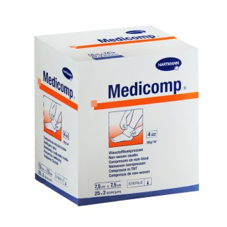 Medicomp, kompresy jałowe, włókninowe, 4-warstwowe, 30 g/ m2, 7,5 cm x 7,5 cm, 50 sztuk - zdjęcie produktu