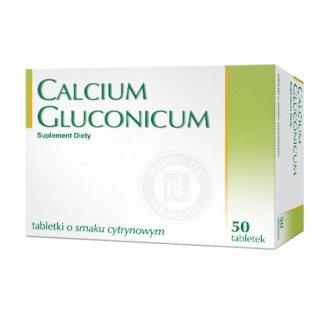 Calcium gluconicum, smak cytrynowy, 50 tabletek - zdjęcie produktu