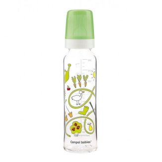 Canpol, butelka szklana, ze smoczkiem rozmiar 3-szybki, Dekorowana, po 12 miesiącu, 240 ml - zdjęcie produktu