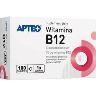 Apteo Witamina B12 10 µg, 100 tabletek - zdjęcie produktu