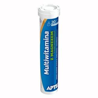 Apteo Multiwitamina z magnezem, smak pomarańczowy, 20 tabletek musujących - zdjęcie produktu
