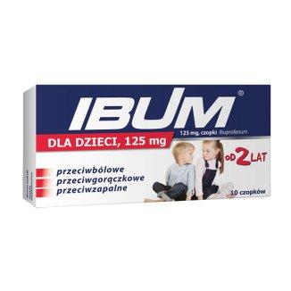 Ibum dla dzieci 125 mg, czopki od 2 lat, 10 sztuk - zdjęcie produktu