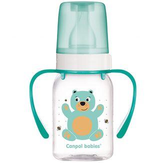Canpol, butelka ze smoczkiem o wolnym przepływie, Wesołe zwierzęta, 3-6 miesiąca, 120 ml + uchwyt - zdjęcie produktu