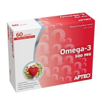 Apteo Omega-3 500 mg, 60 kapsułek - zdjęcie produktu