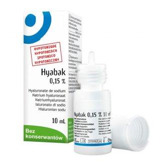 Hyabak 0,15 % , nawilżające krople do oczu i soczewek kontaktowych, bez konserwantów, 10 ml - zdjęcie produktu