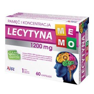 Lecytyna MEMO 1200 mg, 60 kapsułek - zdjęcie produktu