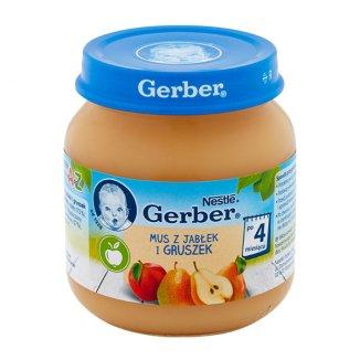 Gerber, Deser, mus z jabłek i gruszek, po 4 miesiącu, 125 g - zdjęcie produktu