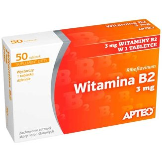 Apteo Witamina B2 3mg, 50 tabletek - zdjęcie produktu