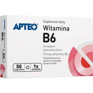 Apteo Witamina B6, 50 tabletek - zdjęcie produktu