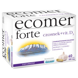 Ecomer Forte Czosnek + vit. D3, 60 kapsułek - zdjęcie produktu