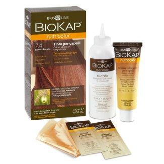 Biokap Nutricolor, farba koloryzująca do włosów, 7.4 kasztanowy blond, 140 ml - zdjęcie produktu