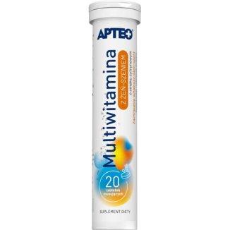 Apteo Multiwitamina z żeń-szeniem, smak cytrynowy, 20 tabletek musujących - zdjęcie produktu