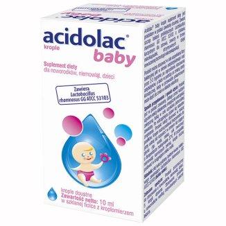 Acidolac Baby, krople doustne dla noworodków, niemowląt i dzieci, 10 ml - zdjęcie produktu