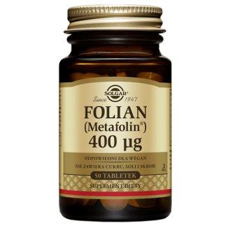 Solgar Folian (Metafolin) 400 µg, 50 tabletek - zdjęcie produktu