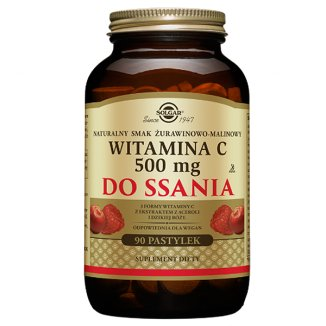 Solgar, Witamina C, smak żurawinowo-malinowy, 90 pastylek - zdjęcie produktu