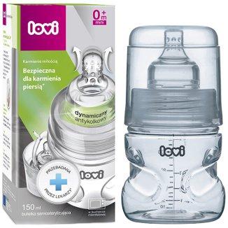 Lovi, butelka aktywne ssanie, samosterylizująca, super vent, ze smoczkiem mini, od urodzenia, 150 ml - zdjęcie produktu