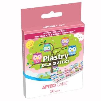 Apteo Care, plastry dla dzieci, hipoalergiczne, motylki i sówki, 10 sztuk - zdjęcie produktu