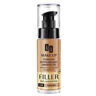 AA MakeUp, podkład wypełniający zmarszczki Filler, nr 109, caramel, 30 ml - zdjęcie produktu