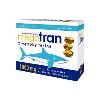 AvetPharma Mega Tran z wątroby rekina, 60 kapsułek - zdjęcie produktu