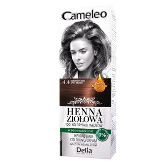 Delia Cameleo, ziołowy krem koloryzujący Henna Ziołowa, nr 4.4, odcień korzenny brąz, 75 g - zdjęcie produktu