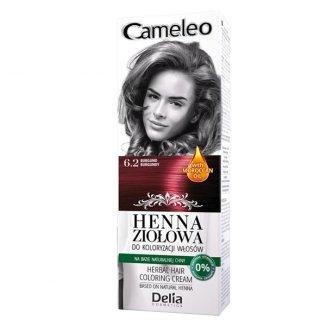 Delia Cameleo, ziołowy krem koloryzujący Henna Ziołowa, nr 6.2, odcień burgund, 75 g - zdjęcie produktu