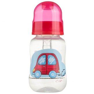 Akuku, butelka Profilowana, dekorowana, okrągła, z silikonowym smoczkiem, od urodzenia, 125 ml - zdjęcie produktu