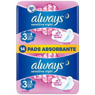 Always Ultra Night Sensitive, podpaski ze skrzydełkami, 14 sztuk - zdjęcie produktu