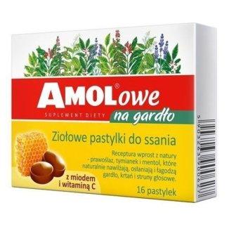 AMOLowe na gardło, ziołowe pastylki do ssania z miodem i witaminą C, 16 sztuk - zdjęcie produktu
