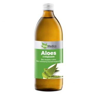 Aloes z miąższem, sok, EkaMedica, 500 ml - zdjęcie produktu