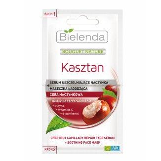 Bielenda Kasztan, serum uszczelniające naczynka + maseczka łagodząca, 2 x 5 g - zdjęcie produktu